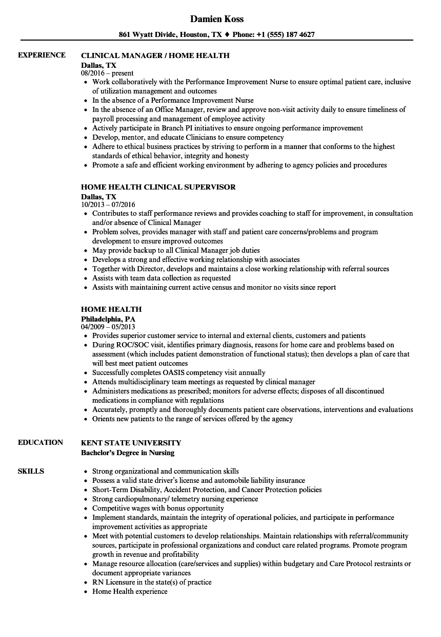 home health resume samples