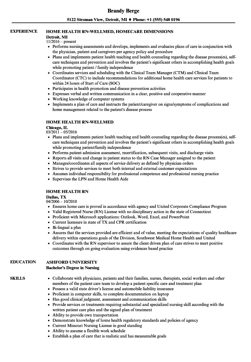Home Health RN Resume Samples | Velvet Jobs
