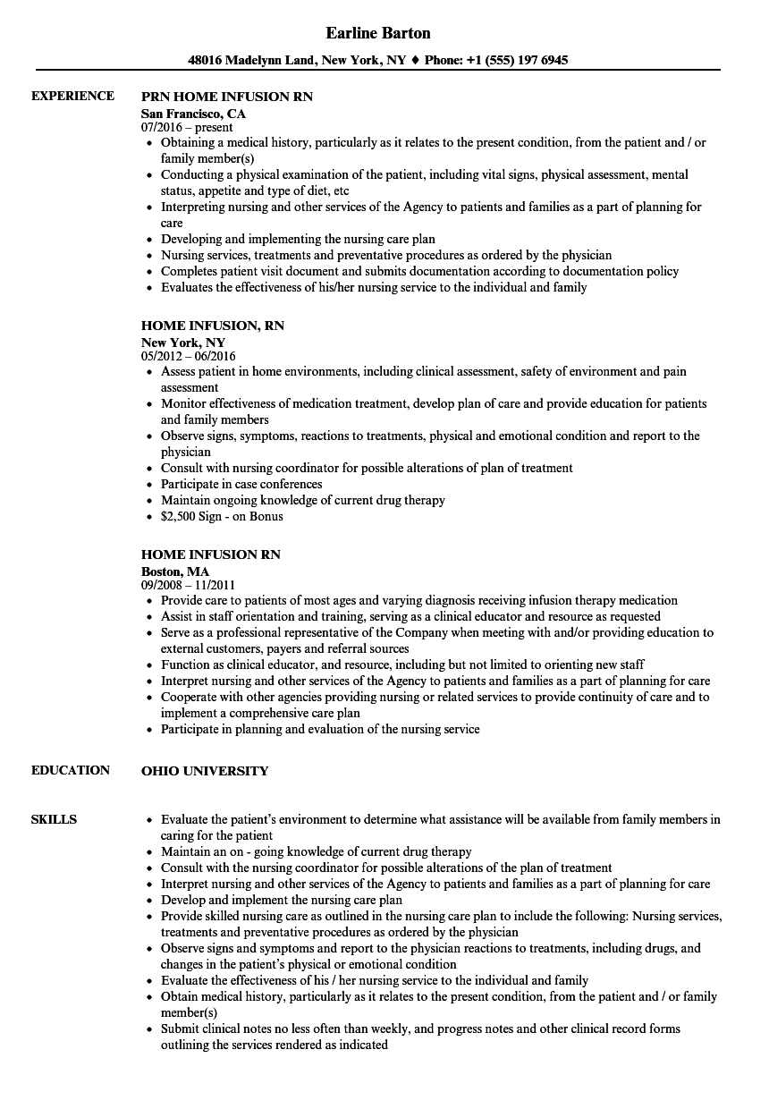 infusion nurse resume