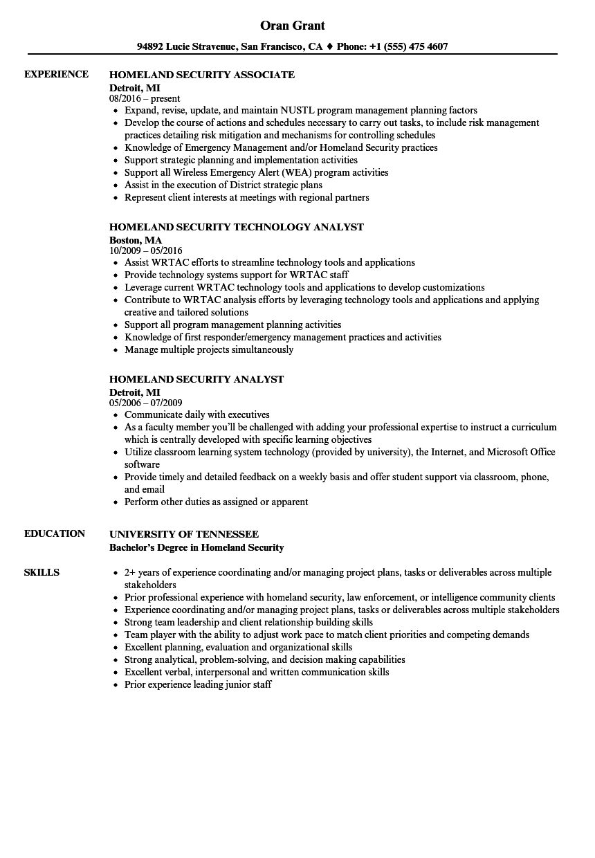 homeland security resume samples