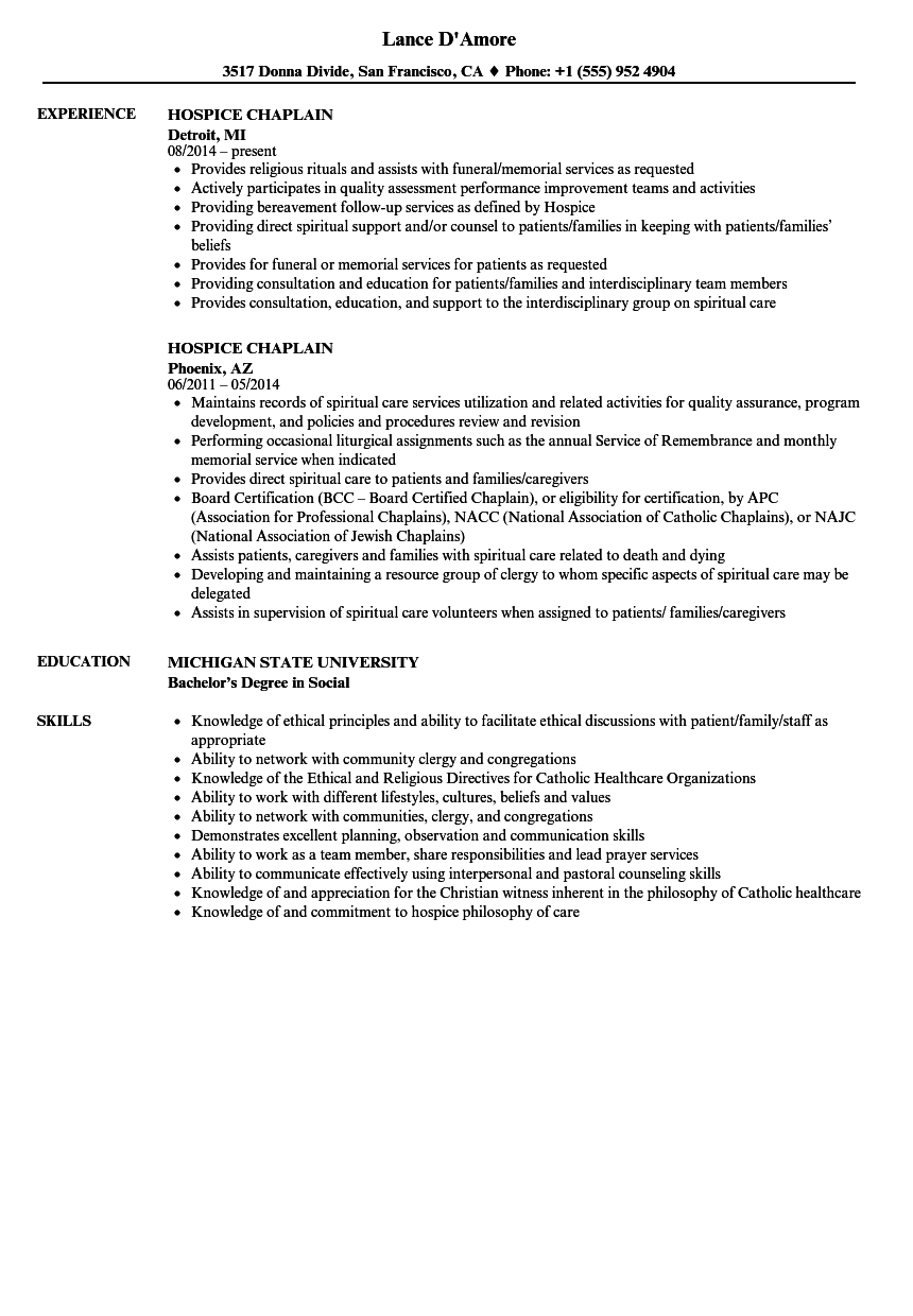 Download Hospice Chaplain Resume Sample As Image File