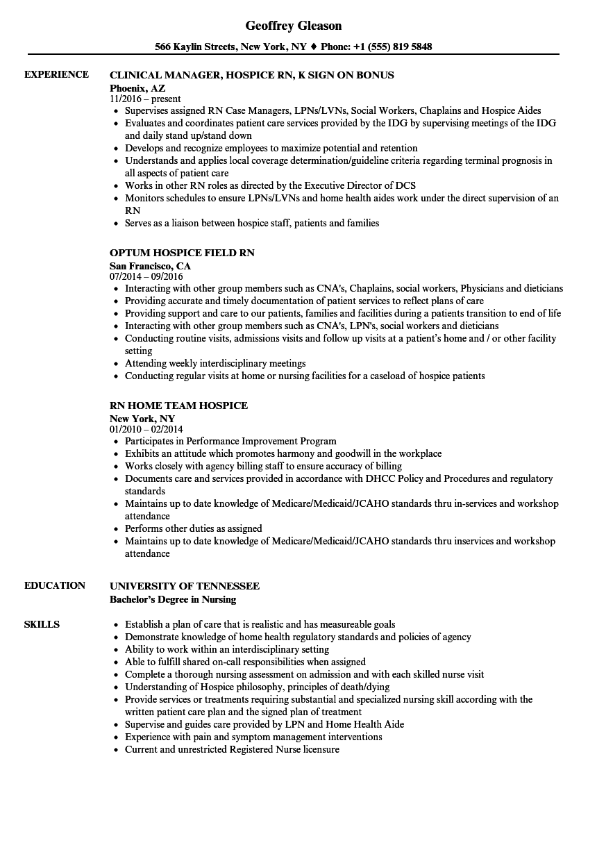 Download Hospice RN Resume Sample As Image File