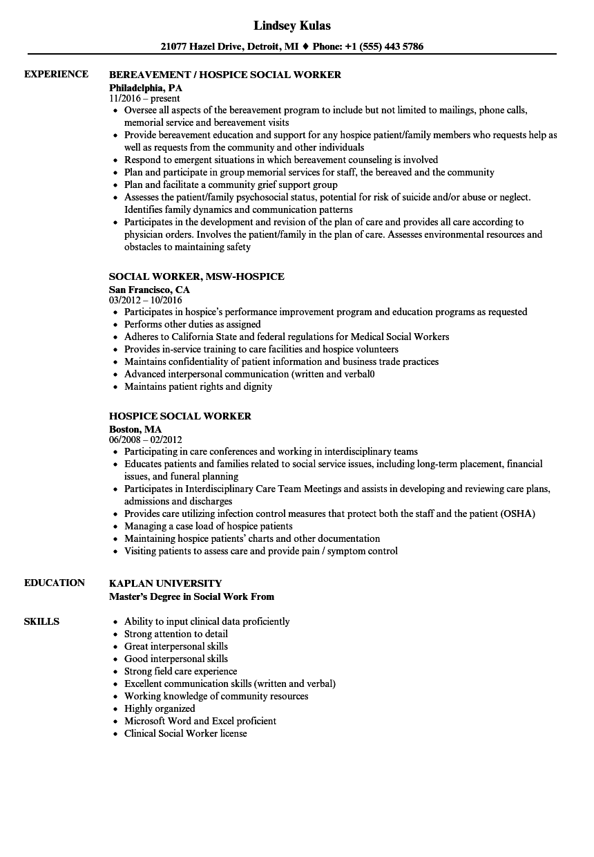 hospice social worker resume samples