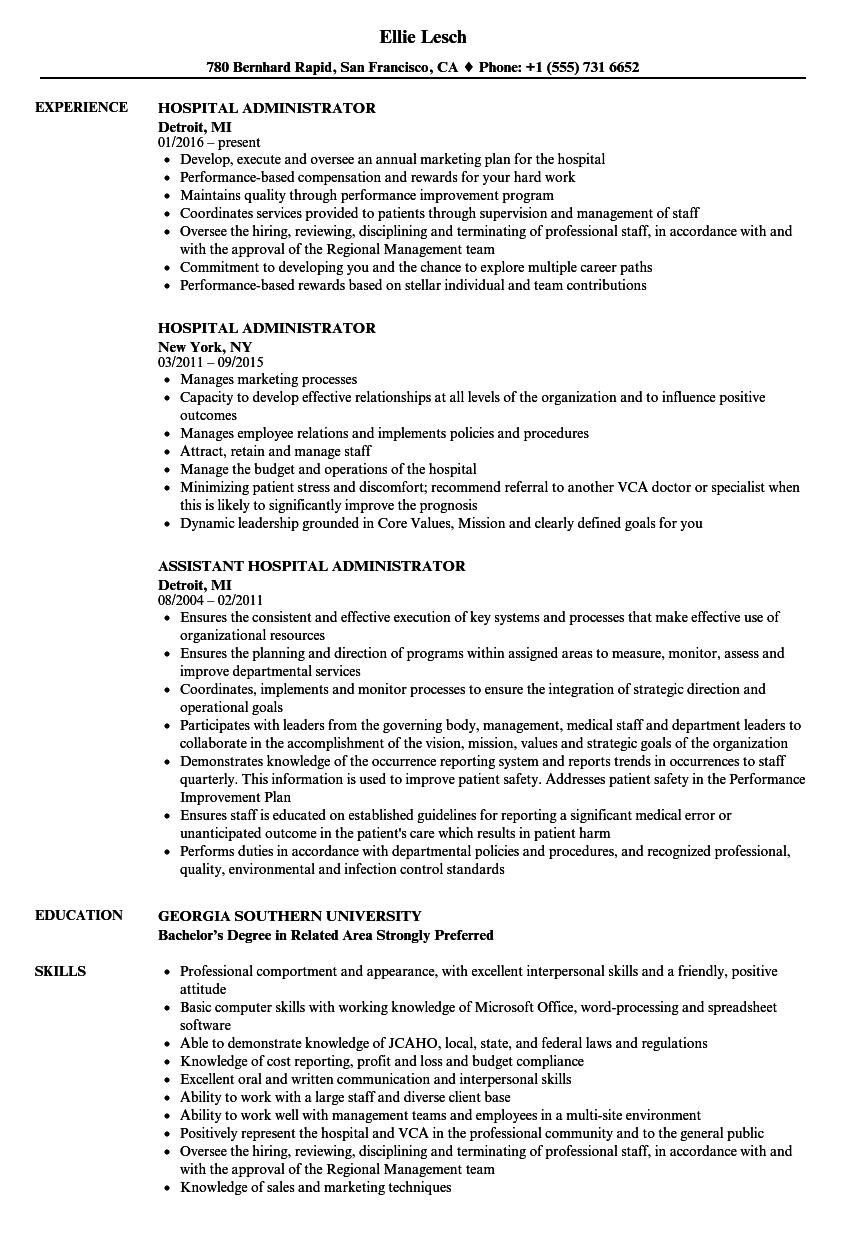 Hospital Administrator Resume Samples Velvet Jobs