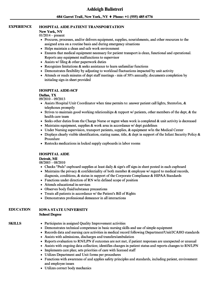 Download Hospital Aide Resume Sample As Image File