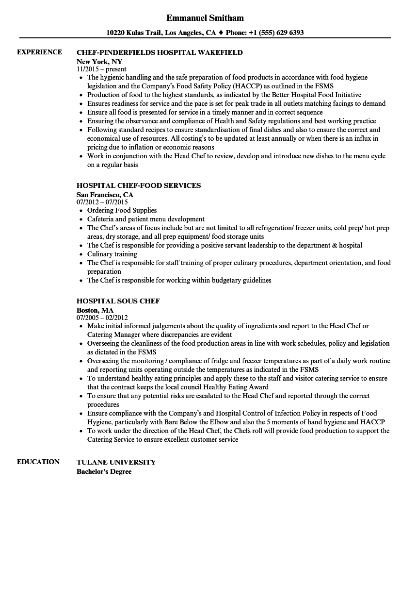 hospital chef resume samples