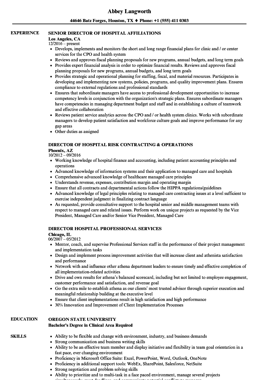 Download Hospital Director Resume Sample As Image File