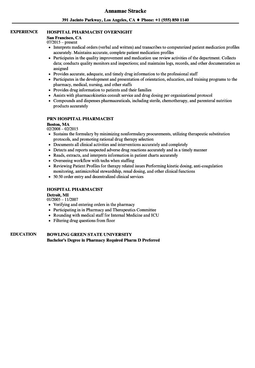 Download Hospital Pharmacist Resume Sample As Image File
