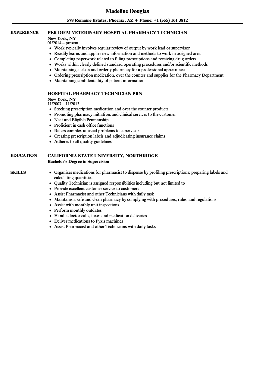 hospital pharmacy technician resume samples