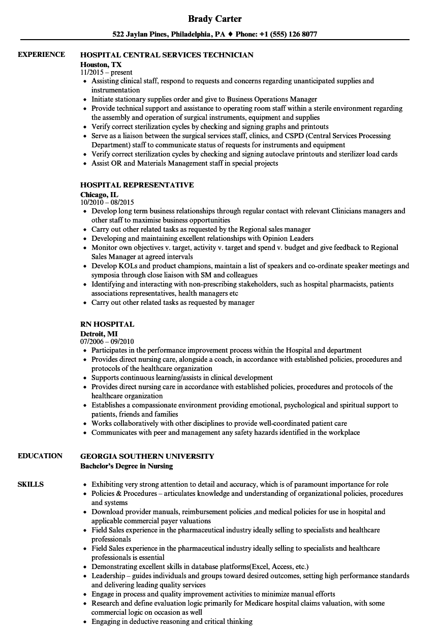 Download Hospital Resume Sample As Image File