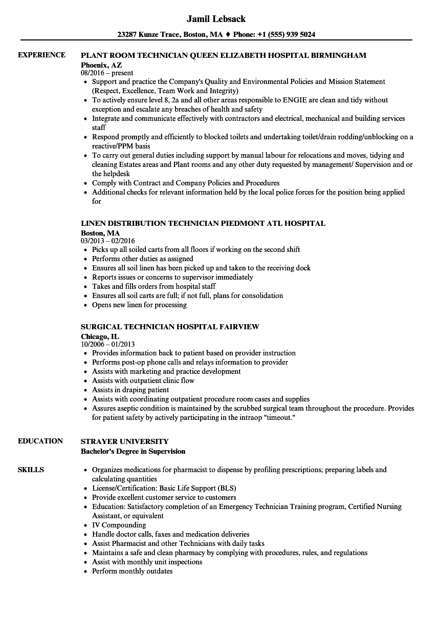 Download Hospital Technician Resume Sample As Image File