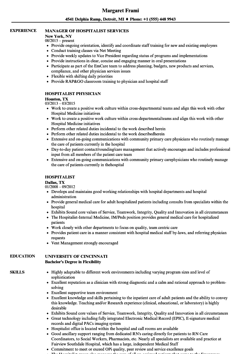 Hospitalist Resume Samples