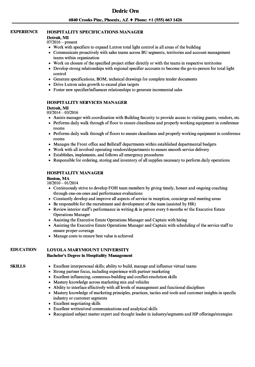 Hospitality Manager Resume Samples | Velvet Jobs