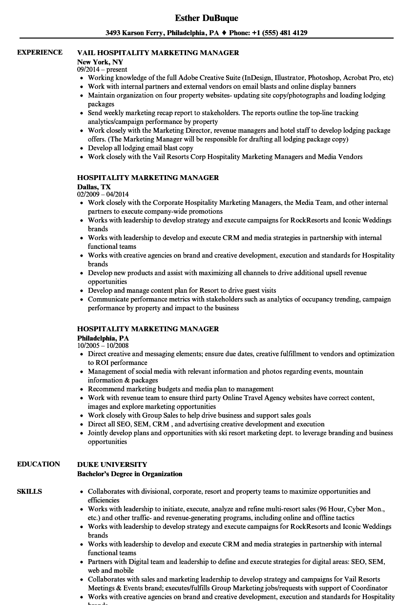 Hospitality Marketing Manager Resume Samples Velvet Jobs