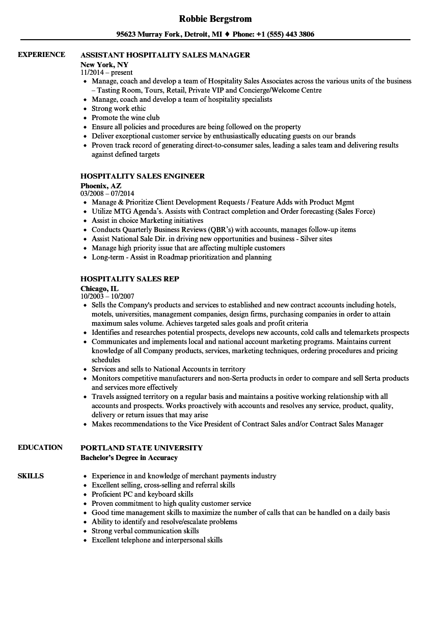 hospitality sales resume samples