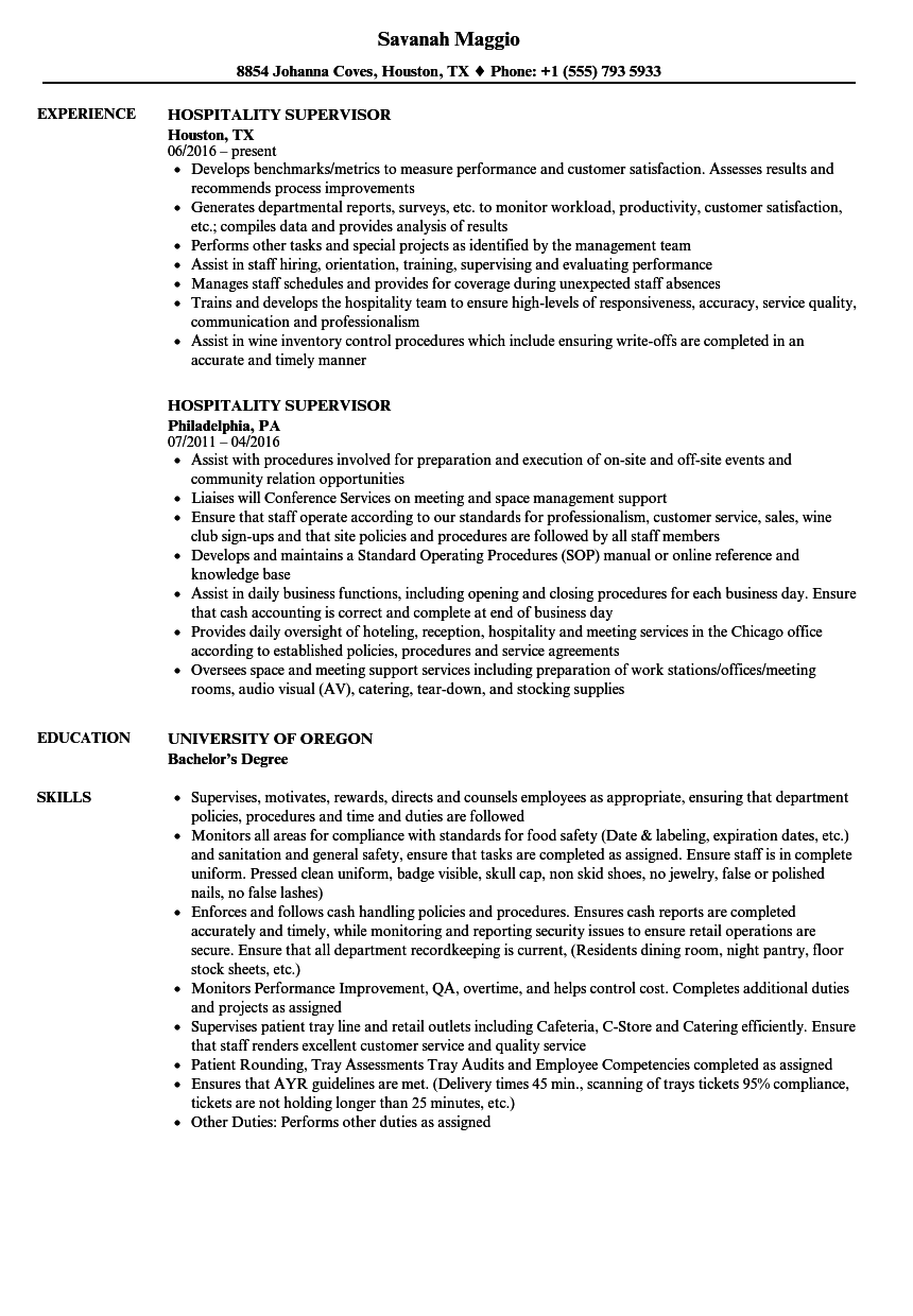 Hospitality Supervisor Resume Samples | Velvet Jobs