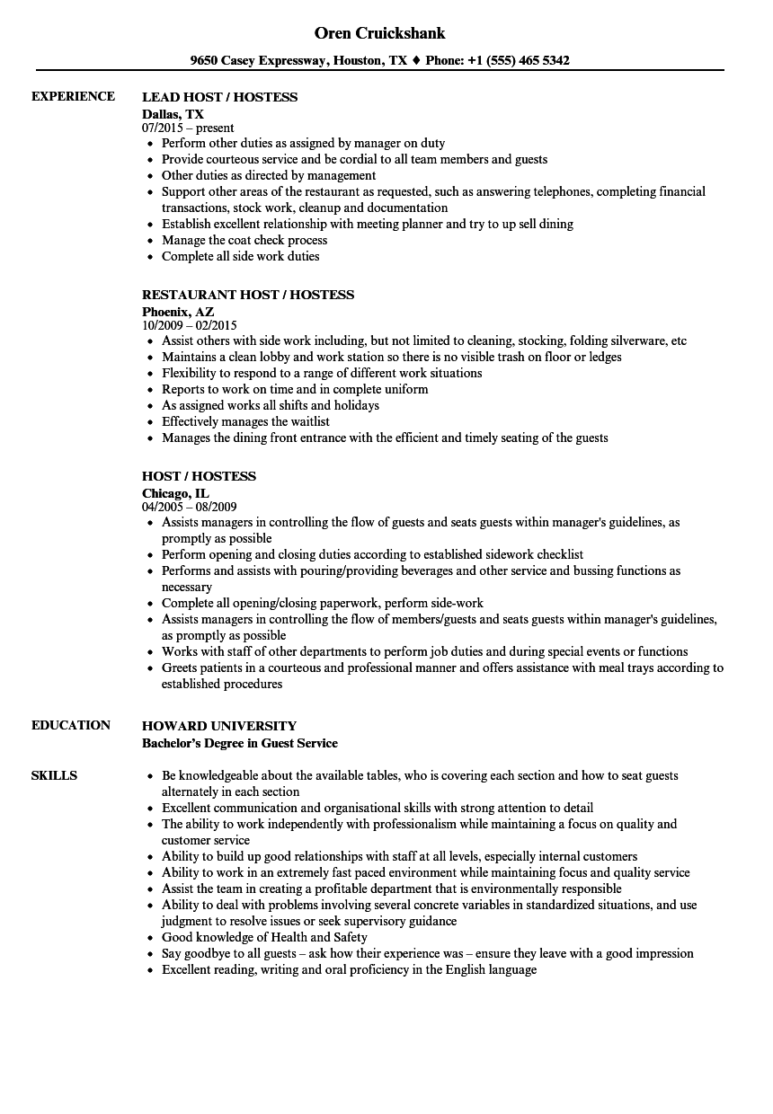 host hostess resume samples