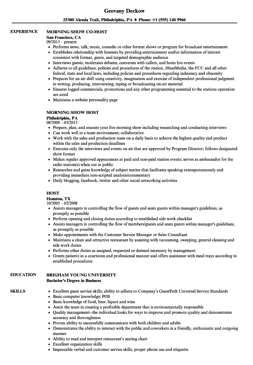 host resume samples