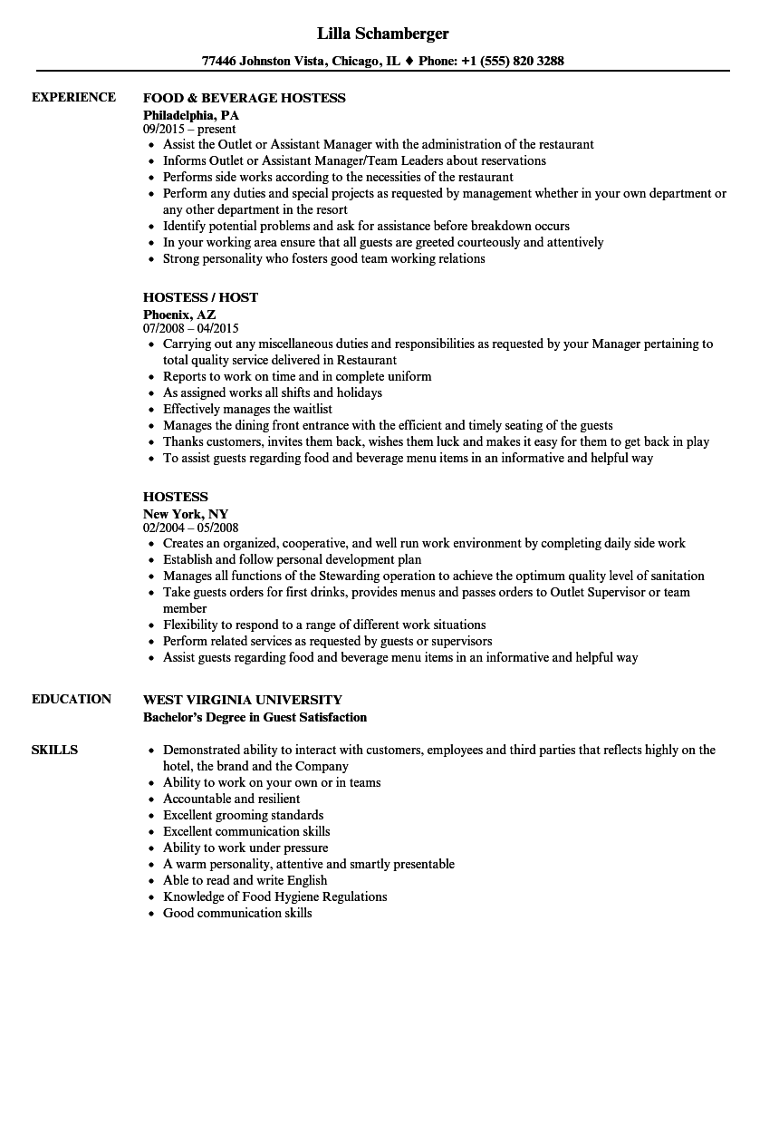 resume description for hostess