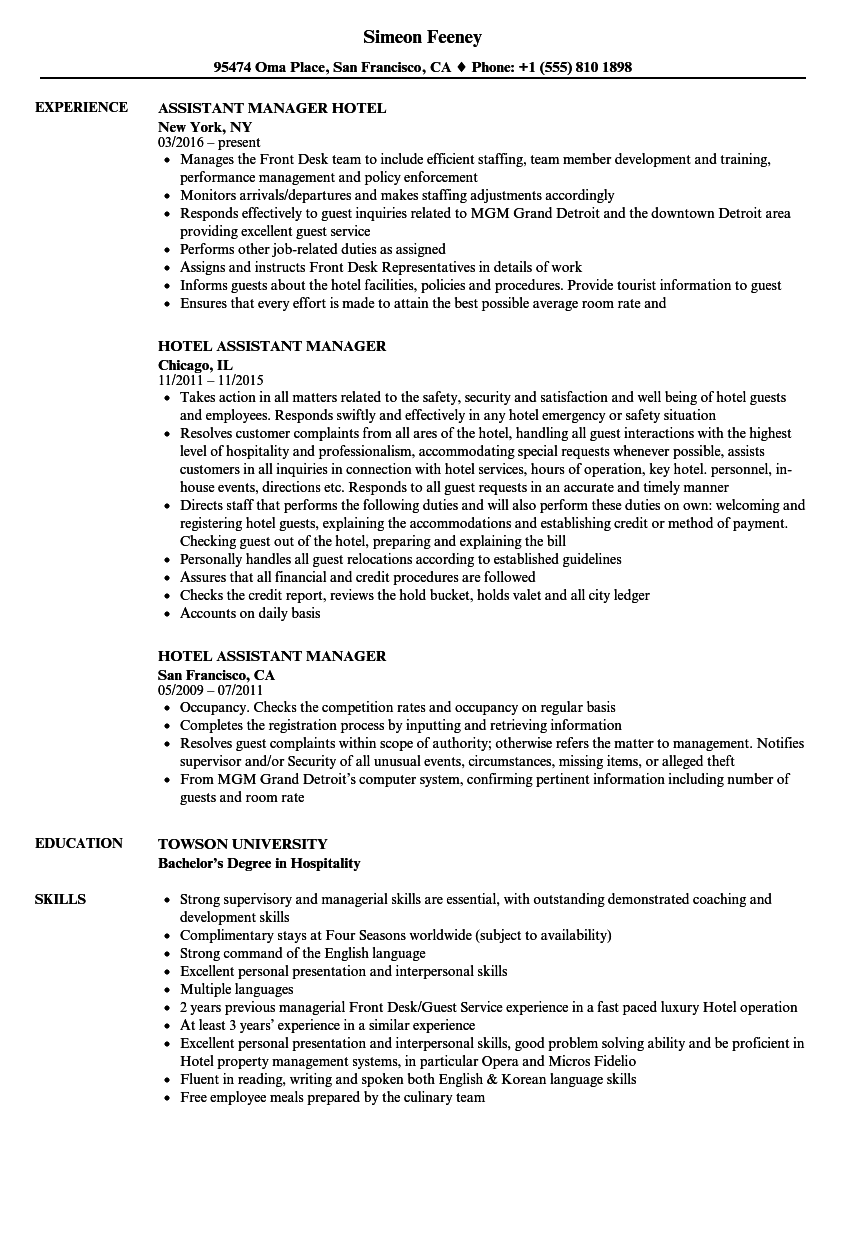 Hotel Assistant Manager Resume Samples Velvet Jobs
