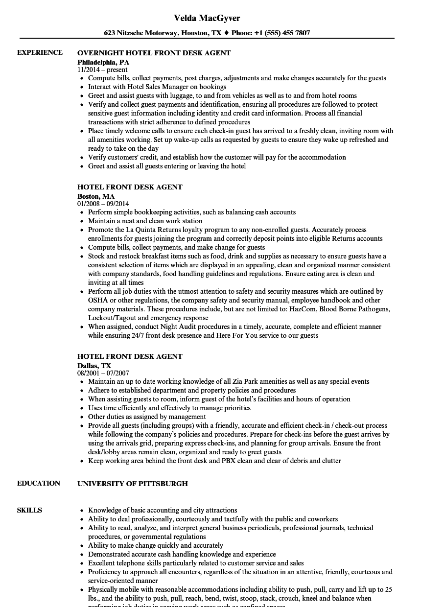Hotel Front Desk Agent Resume Samples | Velvet Jobs