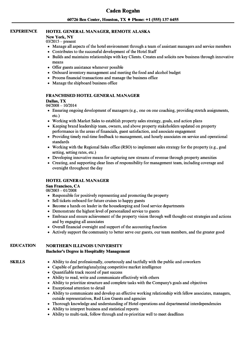 Hotel General Manager Resume Samples Velvet Jobs