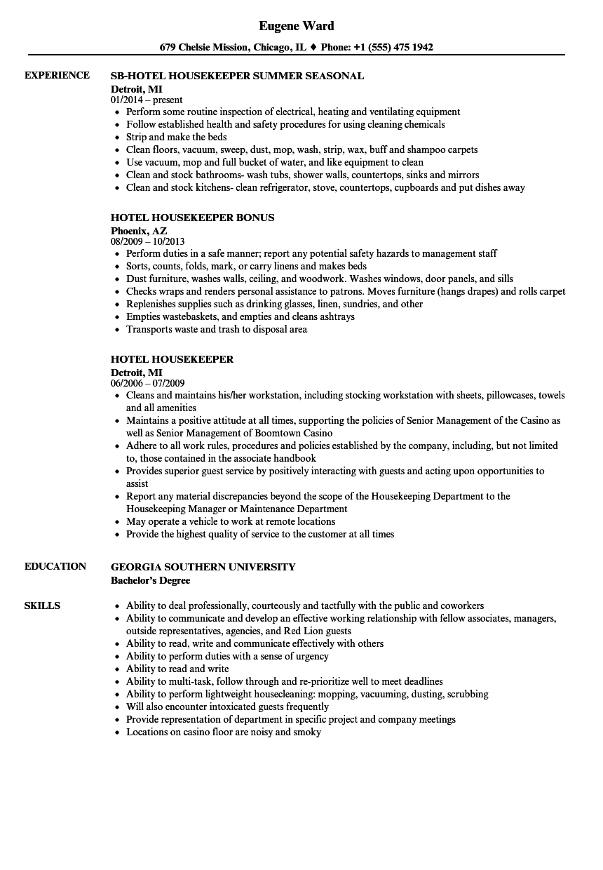 Housekeeping Resume Skills.Hotel Housekeeper Resume Samples Velvet Jobs