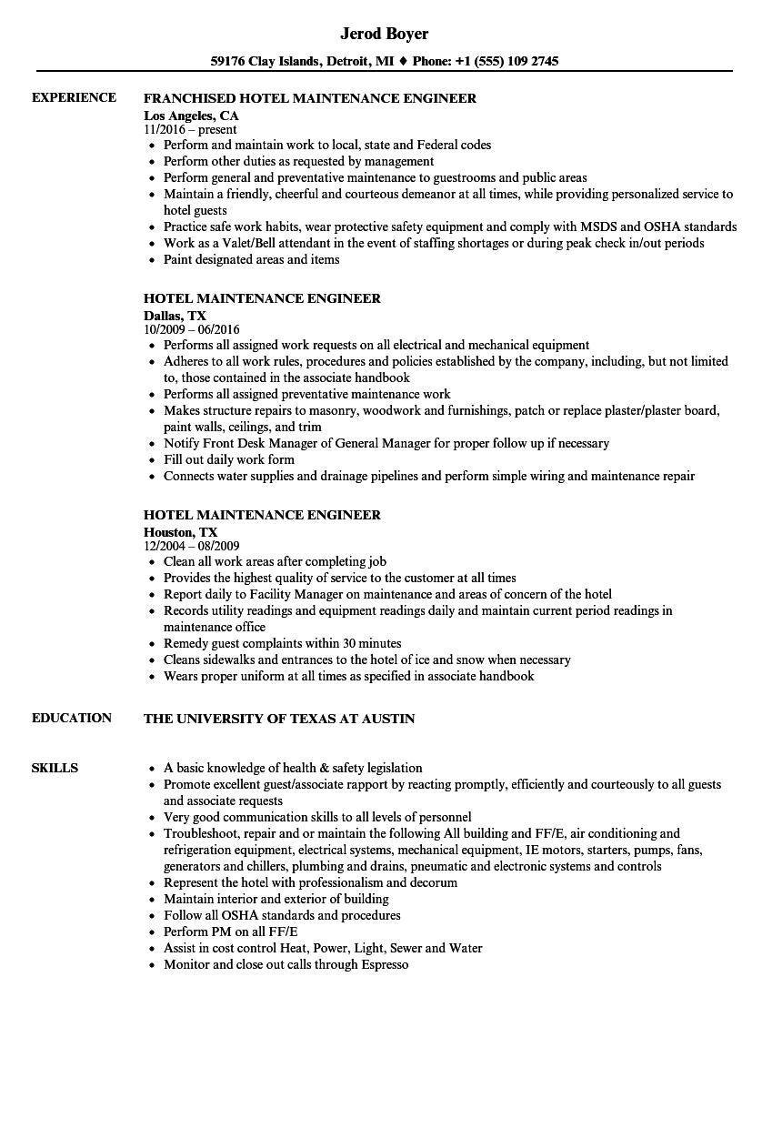 Hotel Maintenance Engineer Resume Samples | Velvet Jobs
