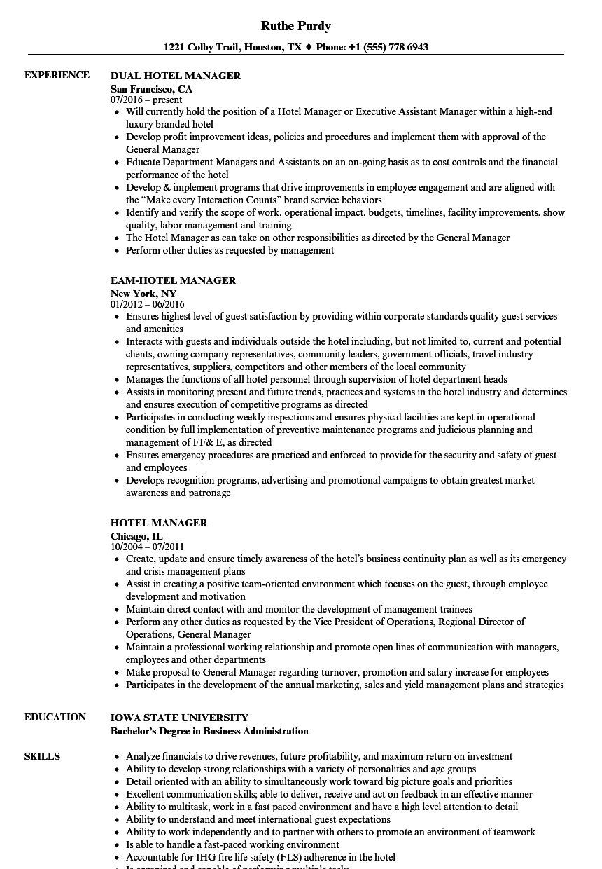 Hotel Manager Resume Samples | Velvet Jobs