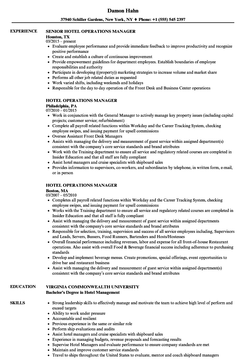 Hotel Operations Manager Resume Samples Velvet Jobs