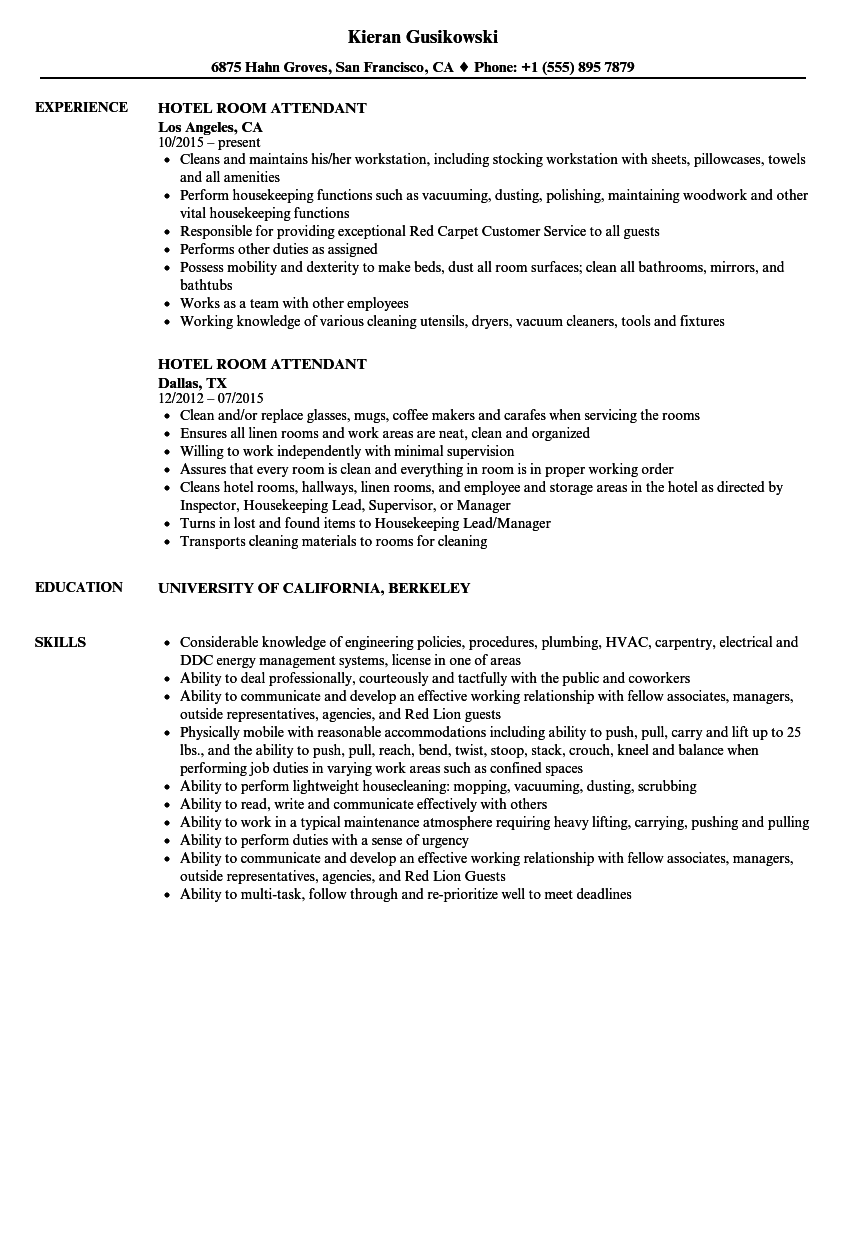 hotel room attendant resume samples