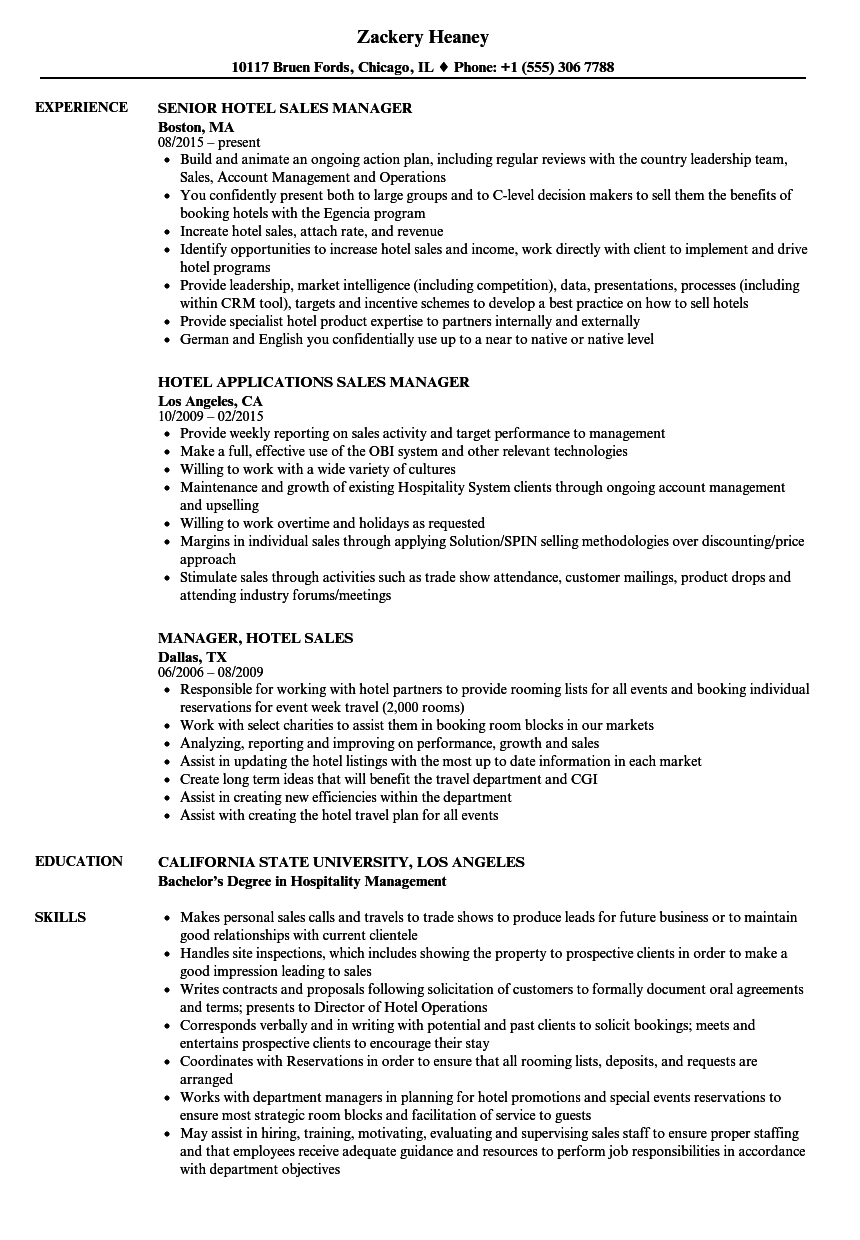 Hotel Sales Manager Resume Samples | Velvet Jobs