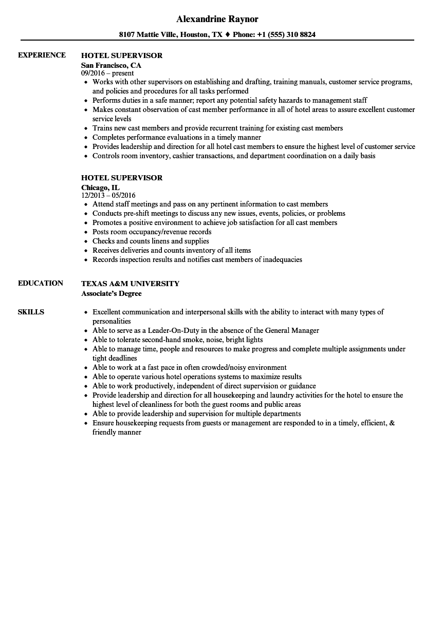 hotel supervisor resume samples velvet jobs
