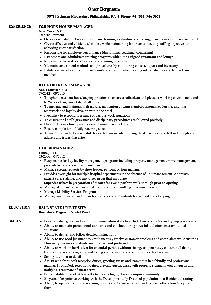 House Manager Resume Samples | Velvet Jobs