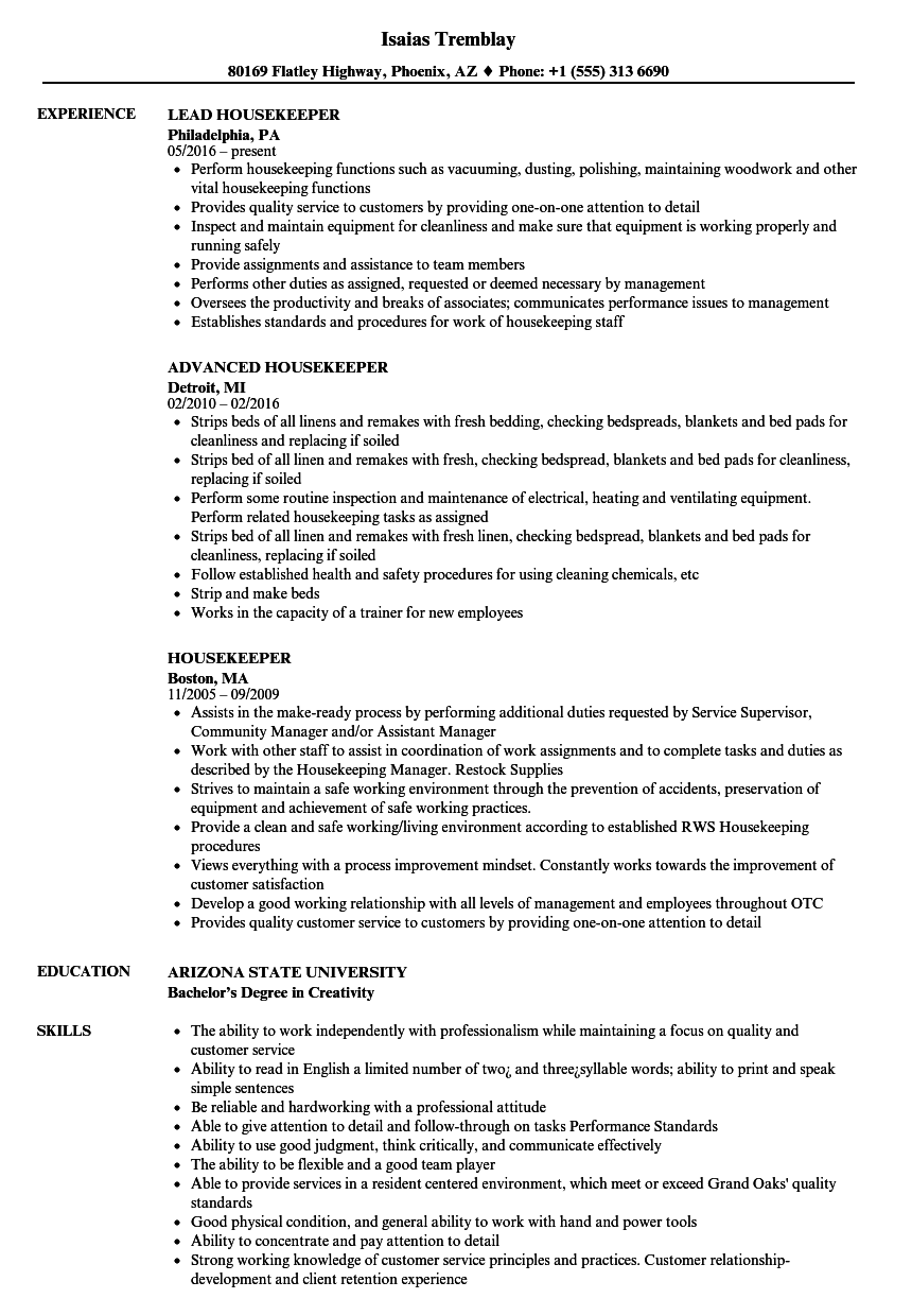 Housekeeper Resume Samples | Velvet Jobs