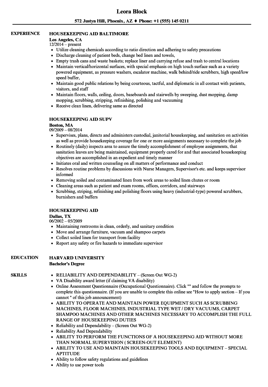 Download Housekeeping Aid Resume Sample As Image File
