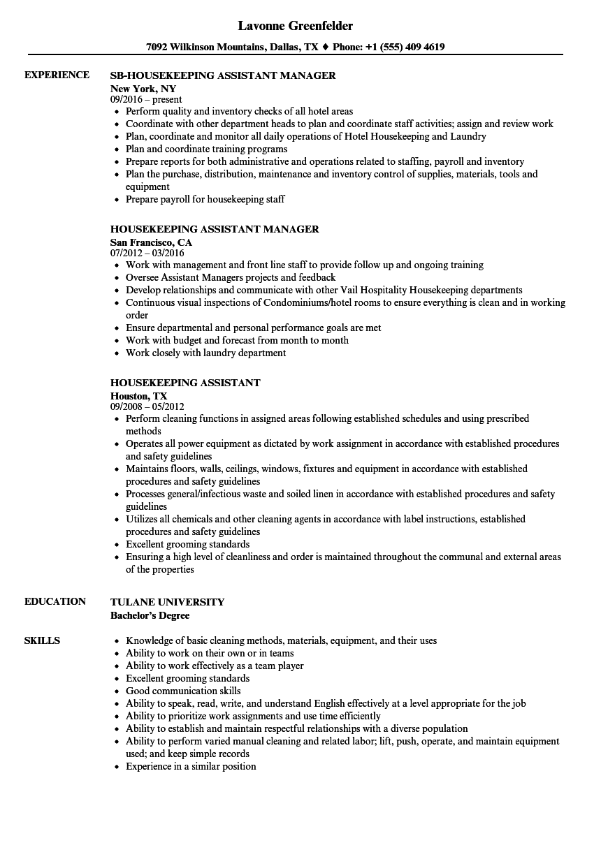 Housekeeping Assistant Resume Samples Velvet Jobs