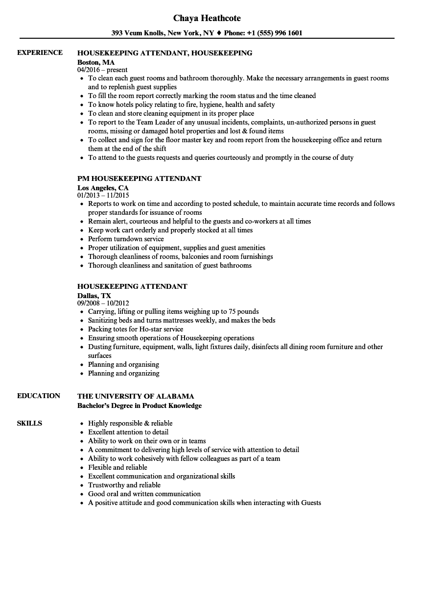Download Housekeeping Attendant Resume Sample As Image File  Sample Resume For Housekeeping