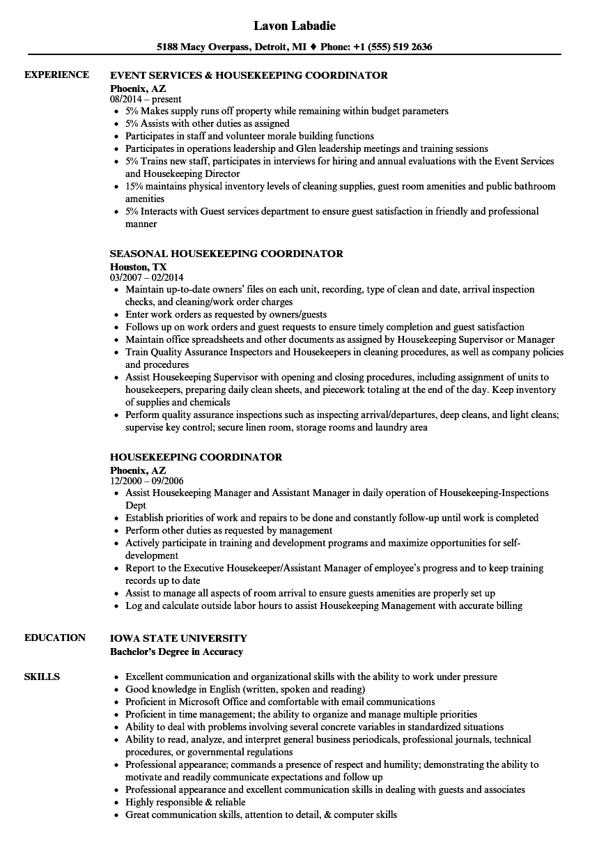 Housekeeping Coordinator Resume Samples | Velvet Jobs