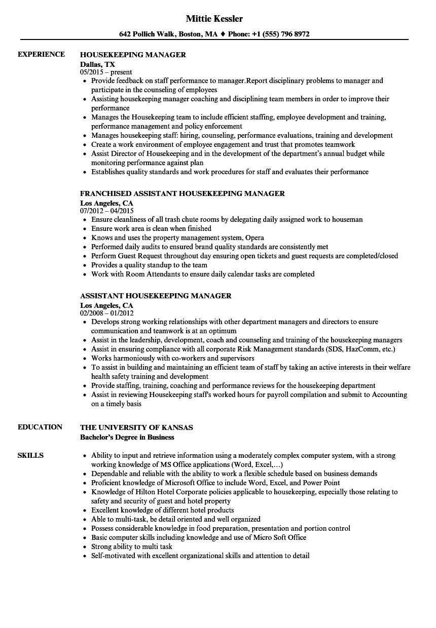 housekeeping manager resume samples