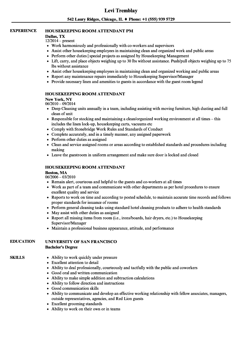 Housekeeping Room Attendant Resume Samples | Velvet Jobs