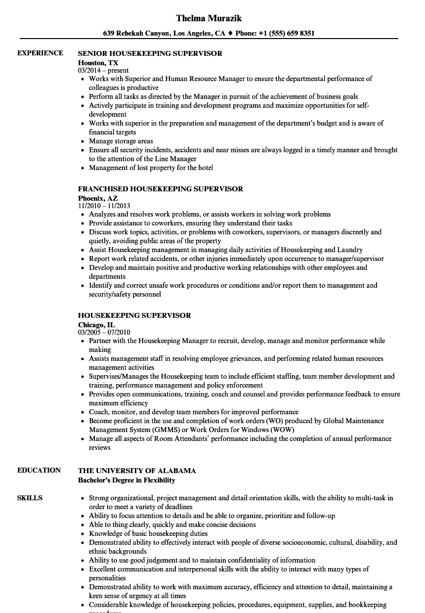 Housekeeping Supervisor Resume Samples | Velvet Jobs