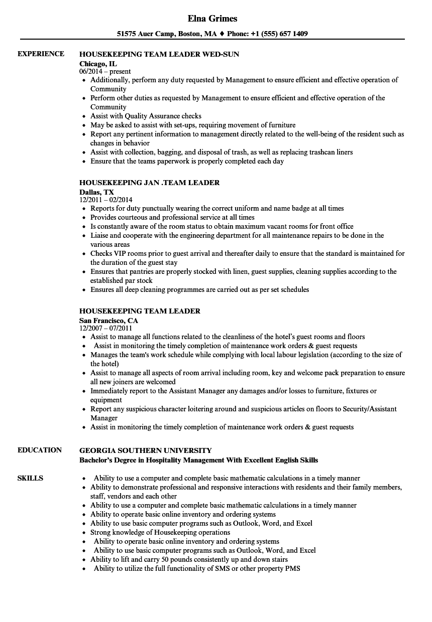 Housekeeping Team Leader Resume Samples | Velvet Jobs
