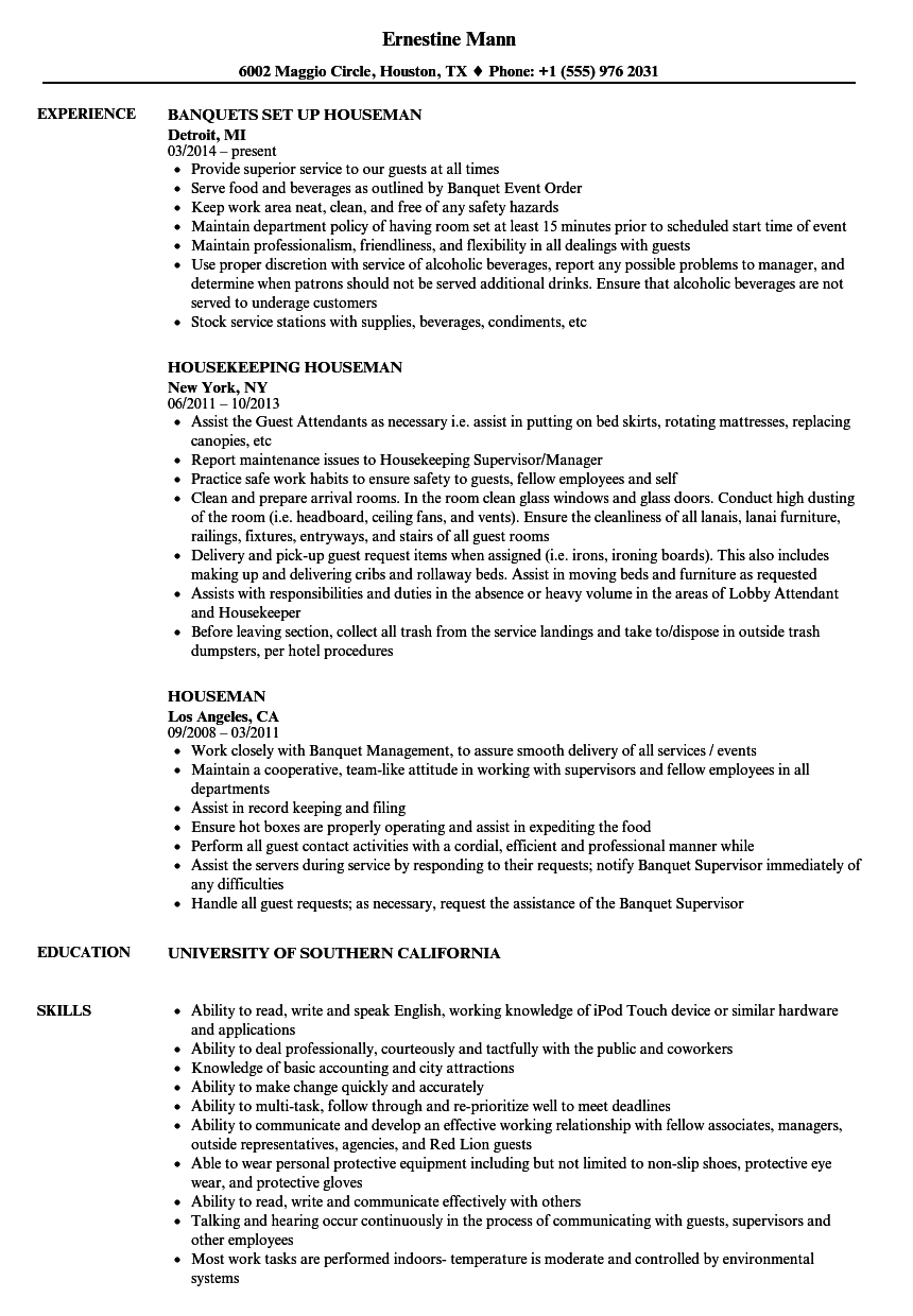 Houseman Resume Samples Velvet Jobs