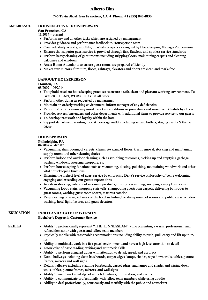 Houseperson Resume Samples   Velvet