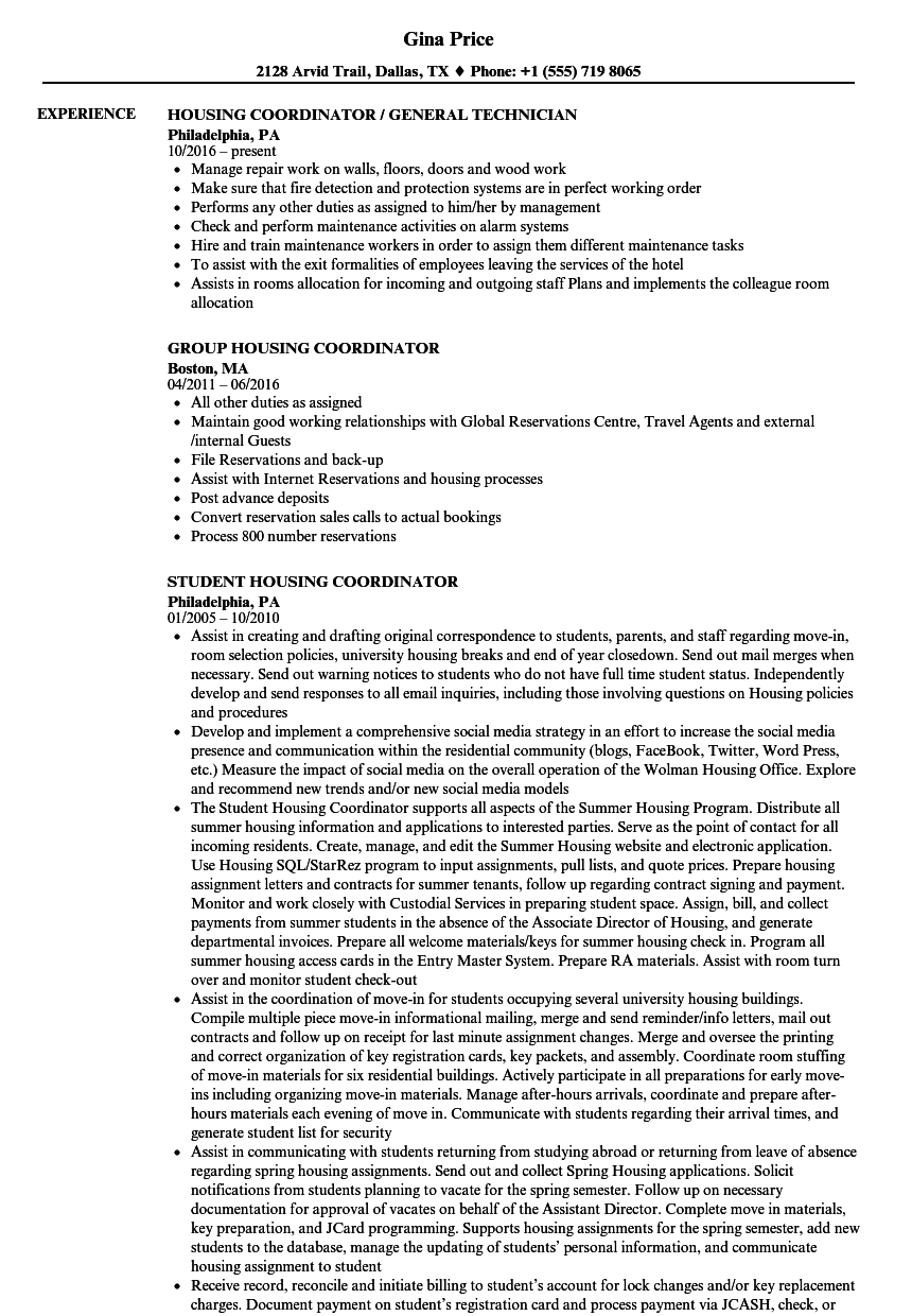Housing Coordinator Resume Samples