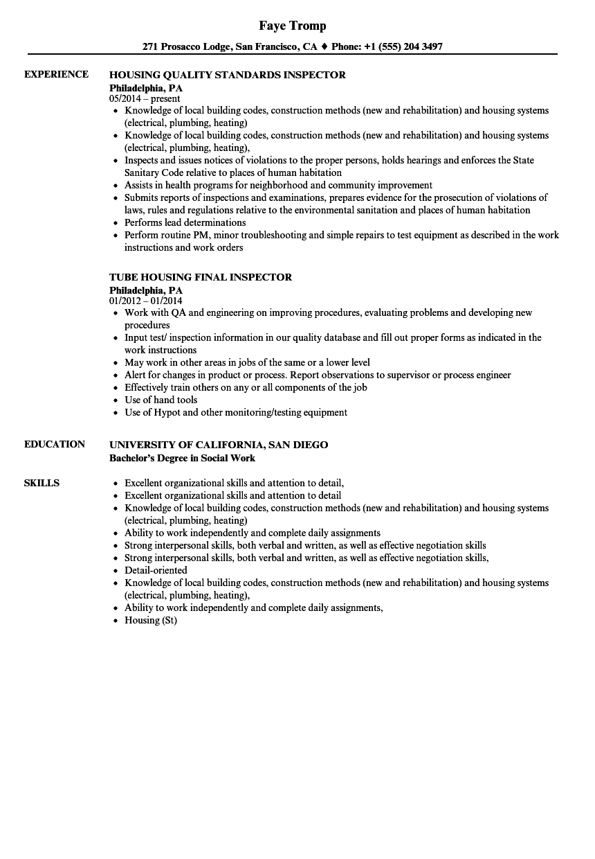 housing inspector resume samples