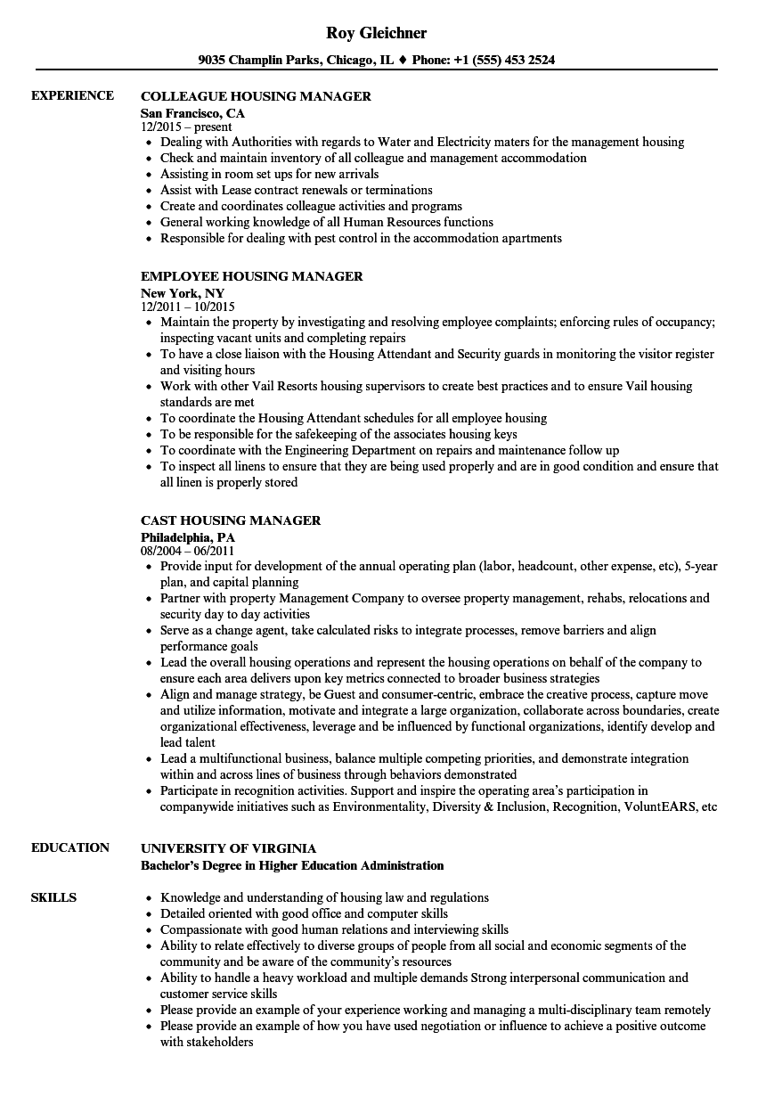 Housing Manager Resume Samples | Velvet Jobs
