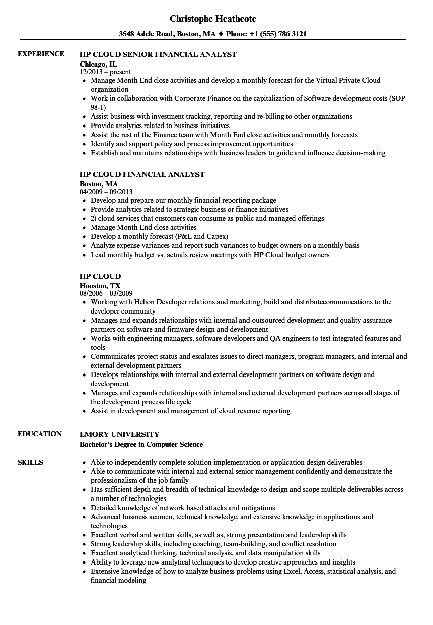 HP Cloud Resume Samples | Velvet Jobs