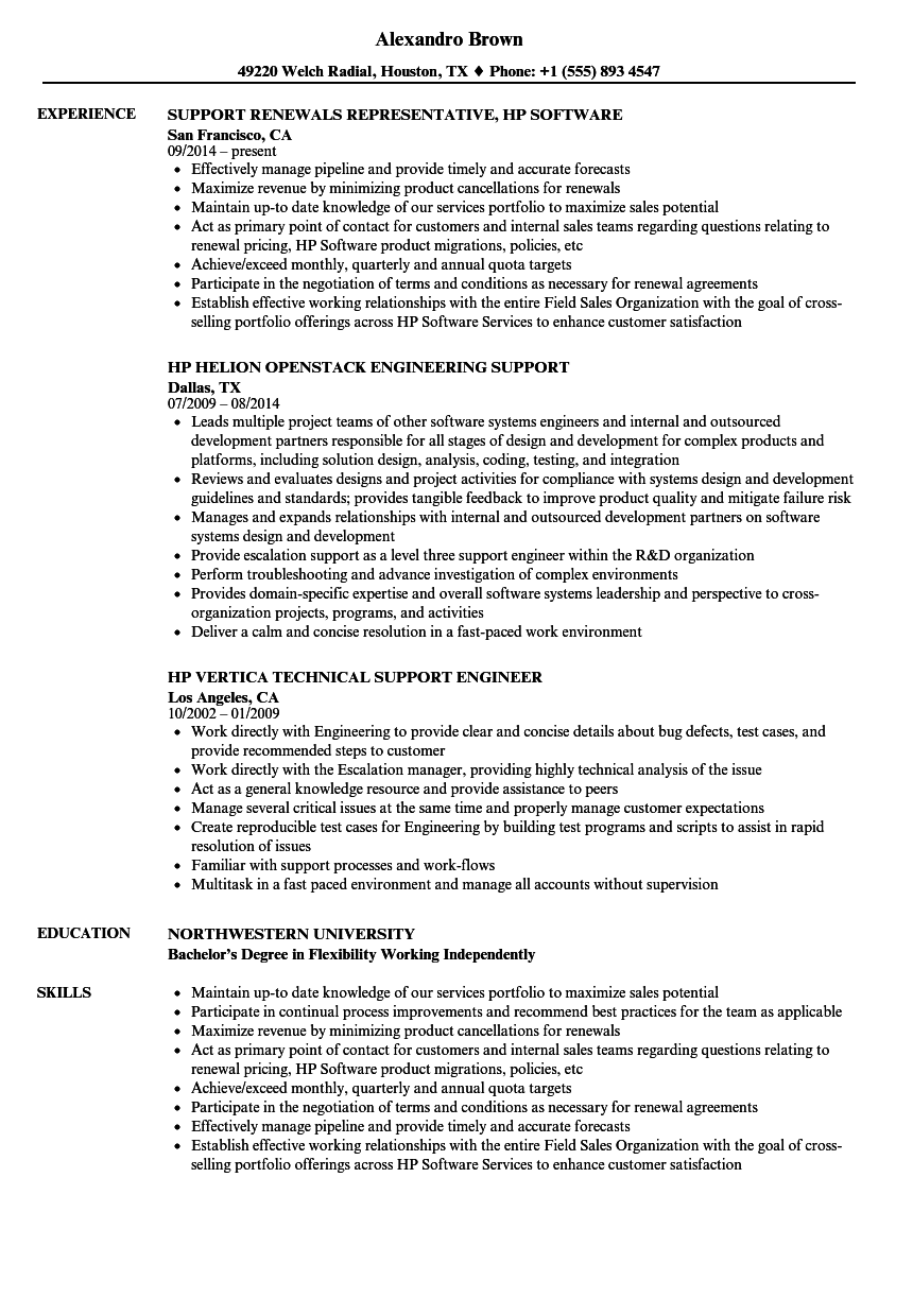 hp support resume samples